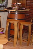 Whole Oak Wine Barrel on 4 Inch Legs with Clear Varnished Pine Table top
