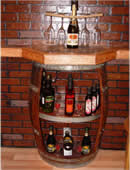 Open Front Wine Barrel Cabinet with Shelf